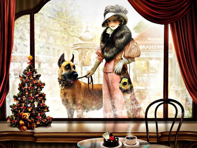 Пазл Собирать пазлы онлайн - Дама с собакой
