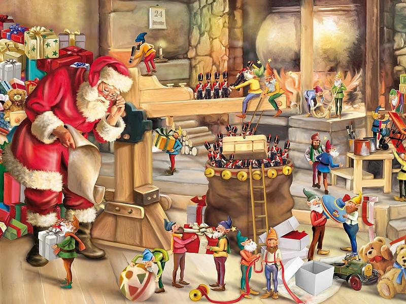 Пазл Собирать пазлы онлайн - Санта Клаус и эльфы
