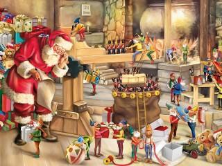 Собирать пазл Санта Клаус и эльфы онлайн