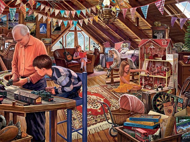Пазл Собирать пазлы онлайн - Дедушка с внуками