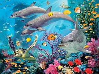 Собирать пазл Дельфины и черепаха онлайн