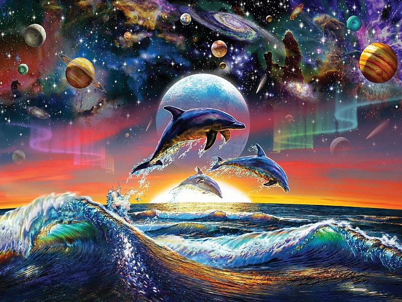 Пазл Собирать пазлы онлайн - Дельфины космос и море