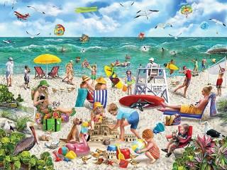 Собирать пазл День на пляже онлайн