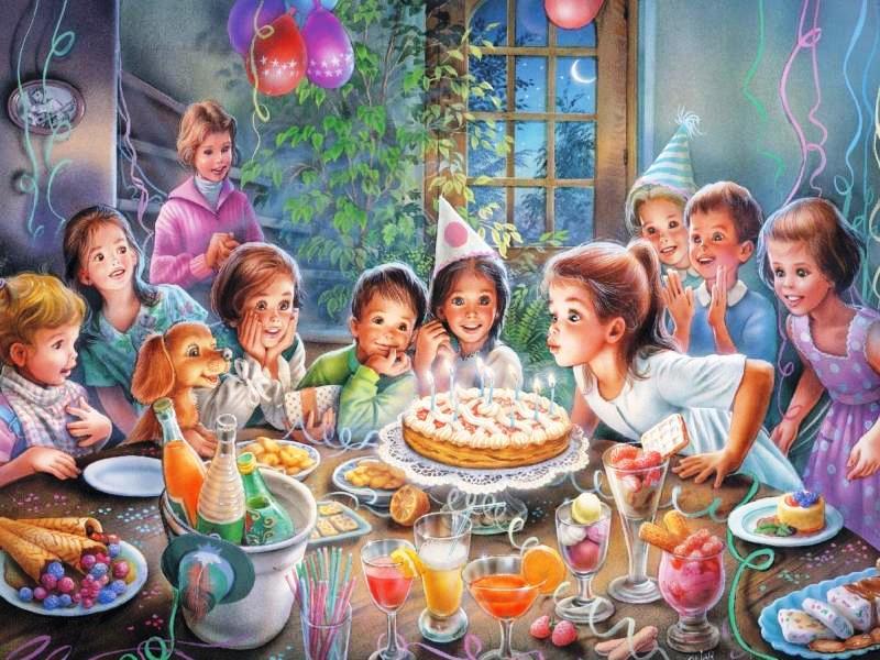 Пазл Собирать пазлы онлайн - День рождения
