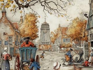 Собирать пазл Деревенская площадь онлайн
