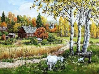 Собирать пазл Деревенский пейзаж онлайн