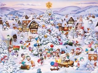 Собирать пазл Деревня снеговиков онлайн