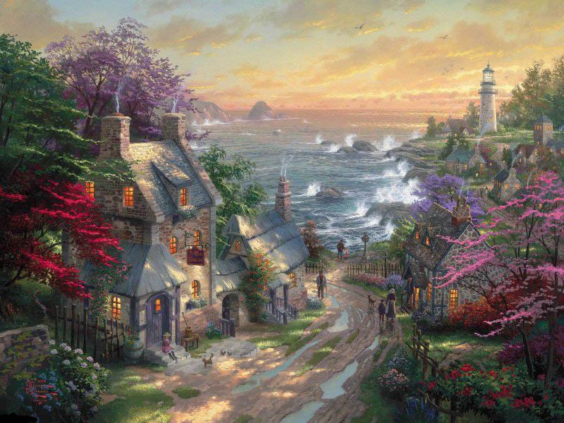 Пазл Собирать пазлы онлайн - Деревня у моря