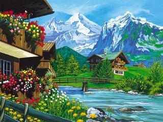 Собирать пазл Деревня в Альпах онлайн