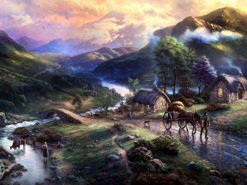 Пазл Собирать пазлы онлайн - Деревня в горах