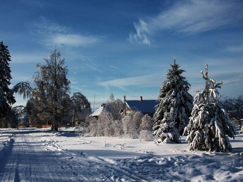 Пазл Собирать пазлы онлайн - Деревня зимой