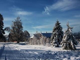 Собирать пазл Деревня зимой онлайн