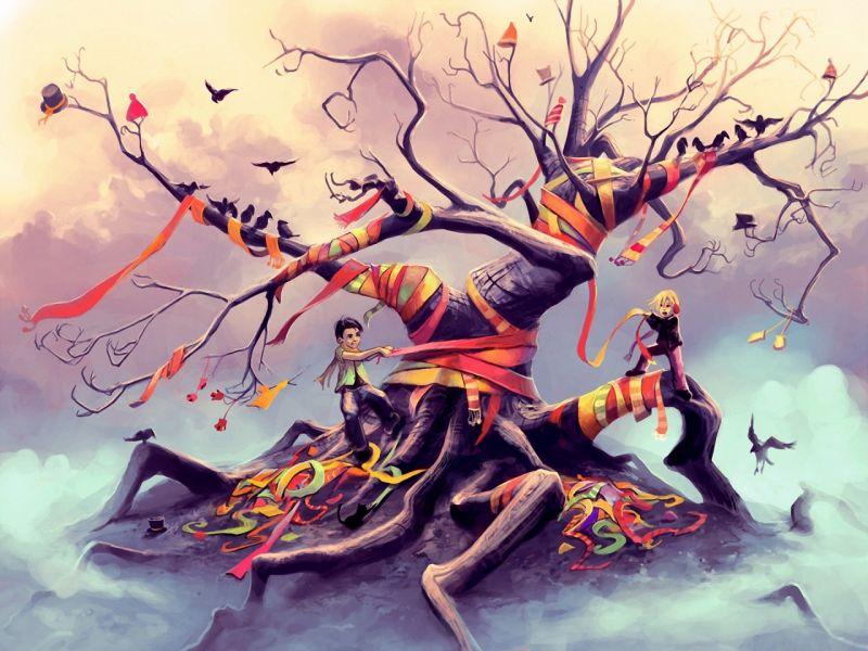 Пазл Собирать пазлы онлайн - Дерево в шарфах