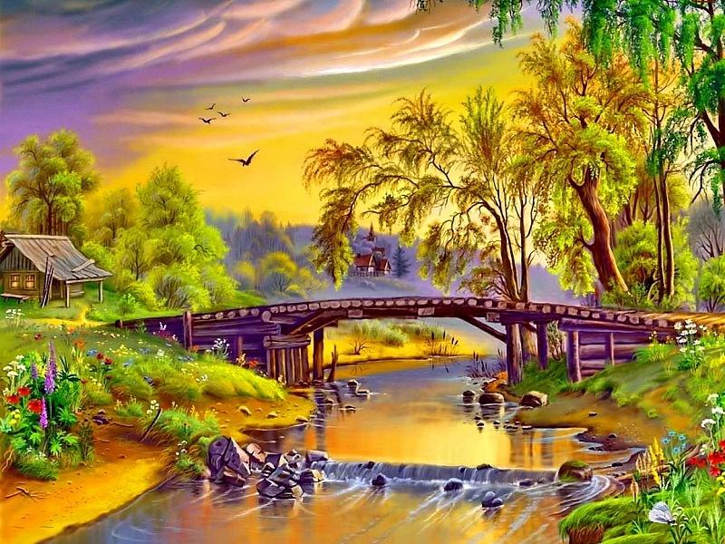 Пазл Собирать пазлы онлайн - Деревянный мостик
