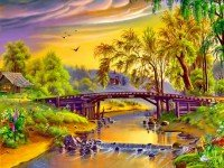 Собирать пазл Деревянный мостик онлайн