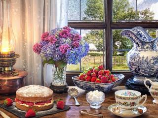 Собирать пазл Десерт с клубникой онлайн