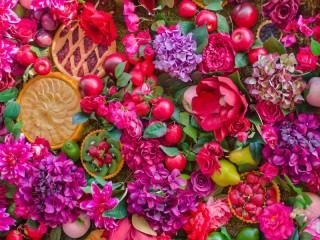 Собирать пазл Десерты и цветы онлайн