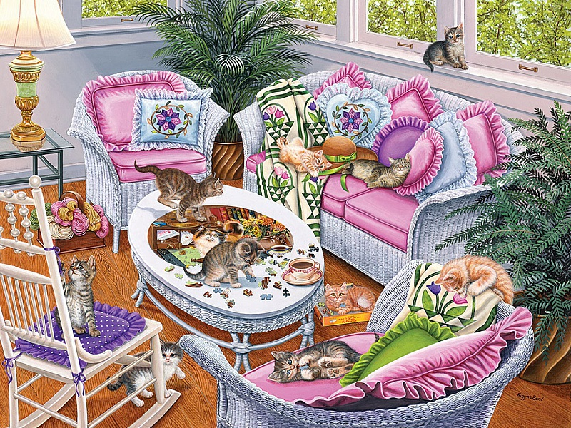Пазл Собирать пазлы онлайн - Десять котят