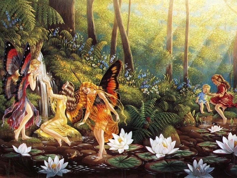 Пазл Собирать пазлы онлайн - Дети и феи