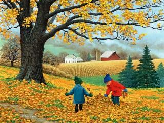 Собирать пазл Дети и осень онлайн