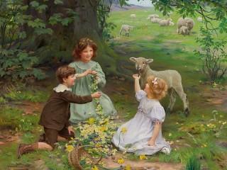 Собирать пазл Дети и овца онлайн