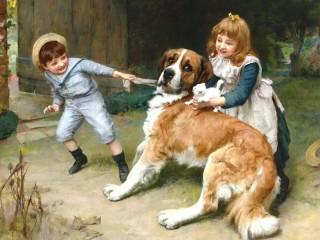 Собирать пазл Дети и животные онлайн