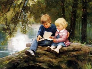 Собирать пазл Дети смотрят книгу онлайн