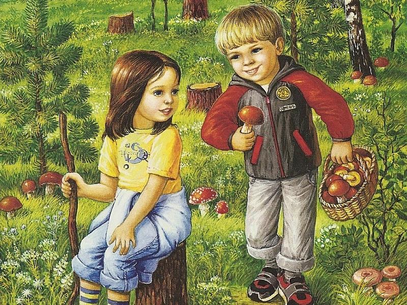 рисунок грибы и ягоды в лесу открытом