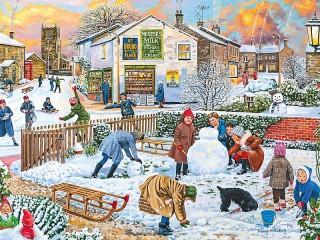 Собирать пазл Детская площадка зимой онлайн