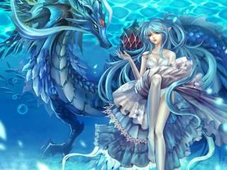 Собирать пазл Девочка и дракон онлайн