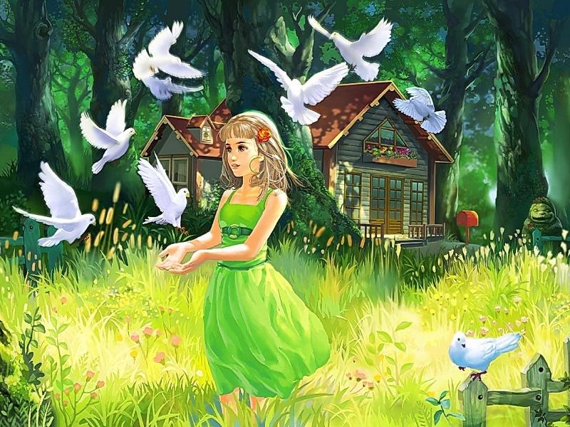 Пазл Собирать пазлы онлайн - Девочка и голуби
