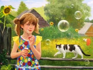 Собирать пазл Девочка и кошка  онлайн