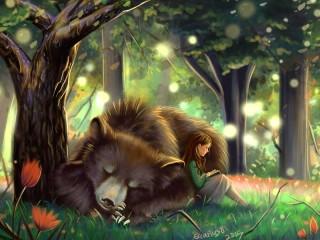 Собирать пазл Девочка и медведь онлайн