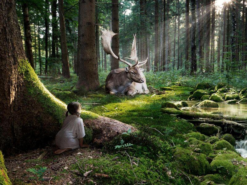 Пазл Собирать пазлы онлайн - Девочка и олень
