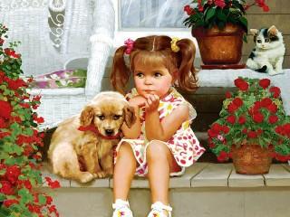 Собирать пазл Девочка и щенок онлайн