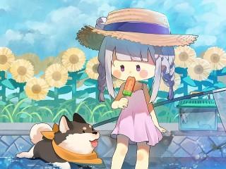 Собирать пазл Девочка и собака онлайн