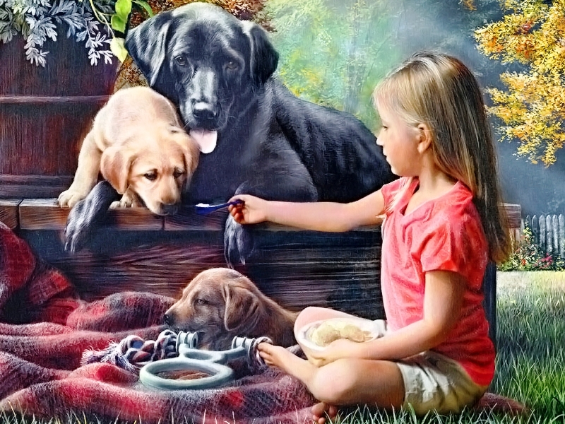 Пазл Собирать пазлы онлайн - Девочка и собаки