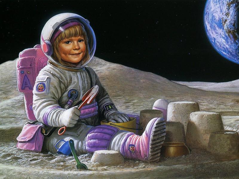 Пазл Собирать пазлы онлайн - Девочка на Луне