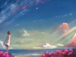 Собирать пазл Девочка на море онлайн