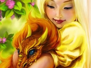 Собирать пазл Девочка с дракошей онлайн