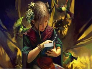 Собирать пазл Девочка с книгой онлайн