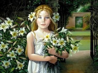 Собирать пазл Девочка с лилиями онлайн