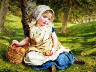 Собирать пазл Девочка с яблоками онлайн