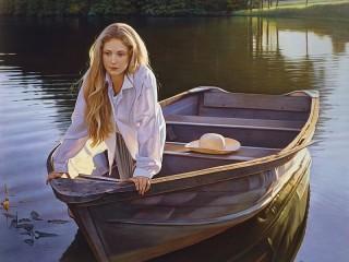 Собирать пазл Девочка в лодке онлайн