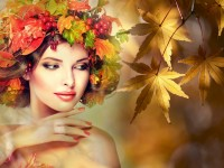 Собирать пазл Девушка-осень онлайн