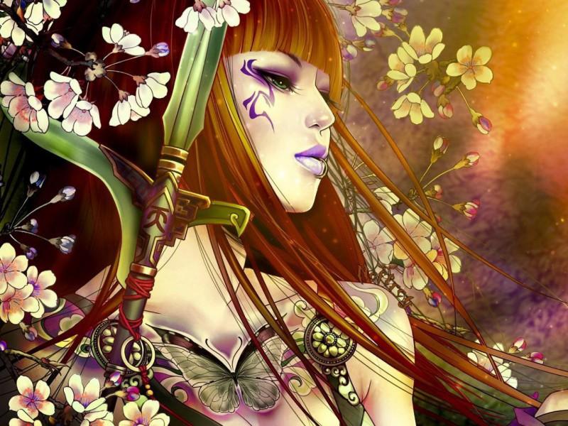 Пазл Собирать пазлы онлайн - Девушка-самурай