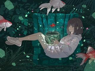 Собирать пазл Девушка и аквариум онлайн