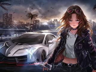 Собирать пазл Девушка и авто онлайн
