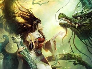 Собирать пазл Девушка и дракон онлайн