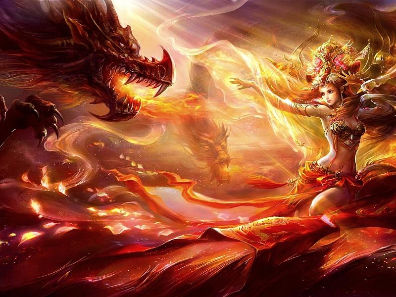 Пазл Собирать пазлы онлайн - Девушка и драконы
